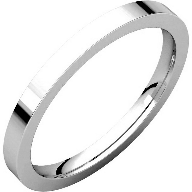 Item # S229561WE - 18 kt white gold plain 2.0 mm wide flat comfort fit wedding band. The ring is a polished finish. Different finishes may be selected or specified.