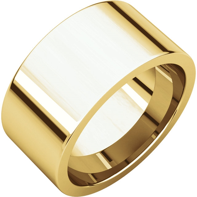 Item # S230490 - 14 kt gold plain 10.0 mm wide flat comfort-fit wedding band. The ring is completely polished. Different finishes may be selected or specified.