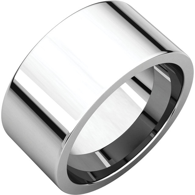 Item # S230490WE - 18 kt white gold plain 10.0 mm wide flat comfort-fit wedding band. The ring is completely polished. Different finishes may be selected or specified.