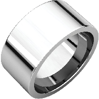 Item # S230490WE - Flat 18K White Gold Band. 10MM