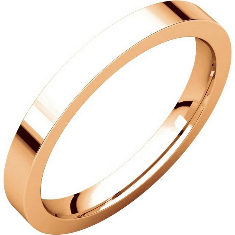 Item # S231376R - 14 kt Rose gold plain 2.5 mm wide flat comfort fit wedding band. The ring is a polished finish. Different finishes may be selected or specified.