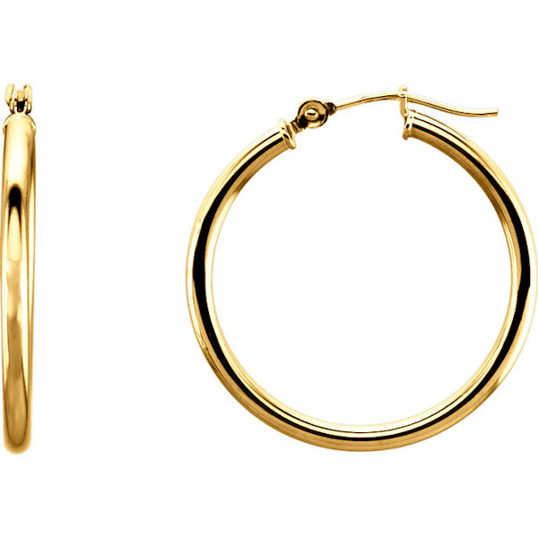Item # S25948 - 14kt yellow gold hoop earrings with a hinge. The earrings are 25 mm in size.