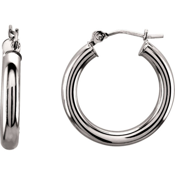 Item # S26504W - 14kt white gold hoop earrings with a hinge. The earrings are 20 mm in size.
