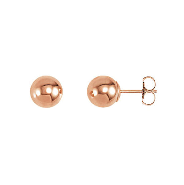 Item # S26543R - 14kt rose gold, round, ball stud earrings. The earring size is 4.0 mm.