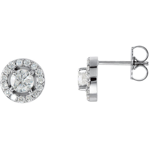 Item # S339863W - 14kt white gold, diamond halo stud earrings. The diamonds are 0.375 ct tw, SI1-2 in clarity and G-H in color. The earrings have a friction back.