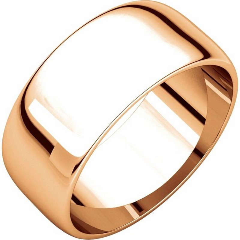 Item # S38457R - Gold 14K Rose Plain 8.0 mm Wide Half Round Wedding Band. The whole ring is a polished finish. Different finishes may be selected or specified.