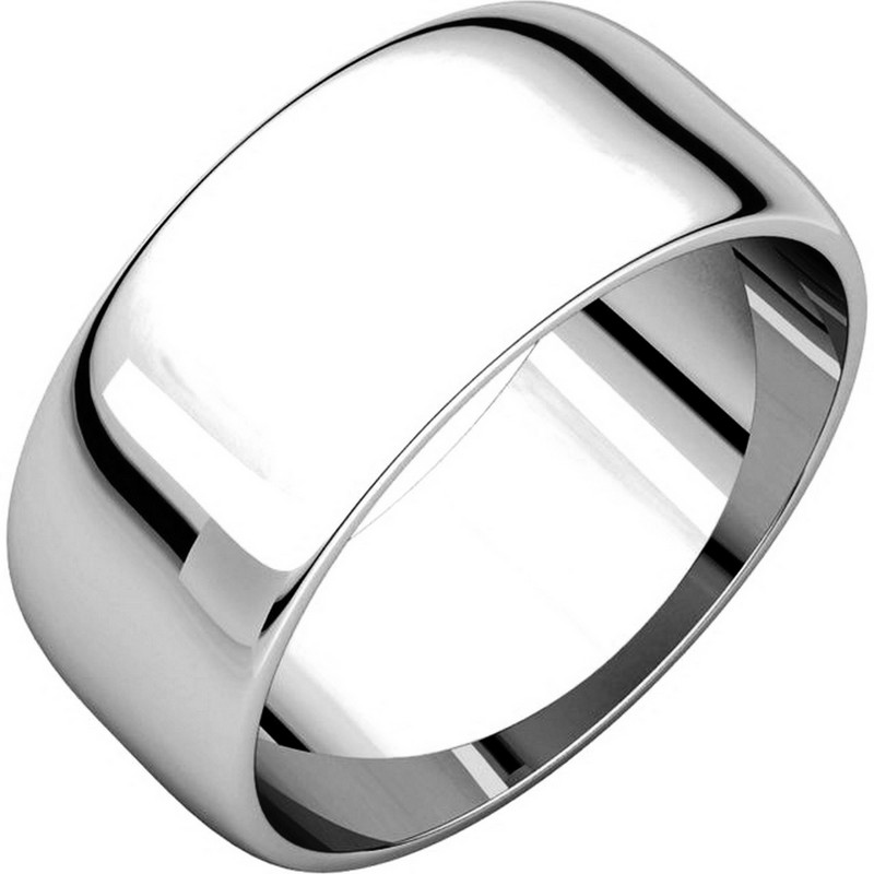 Item # S38457W - White 14K Gold Plain 8.0 mm Wide Half Round Wedding Band. The whole ring is a polished finish. Different finishes may be selected or specified.
