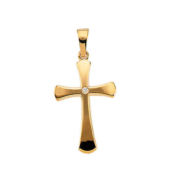 Item # S46965 - 14kt yellow gold, diamond cross pendant. There is one round brilliant cut diamond set in the center of the cross. The diamond is 0.005 ct, SI1-2 in clarity and G-H in color. The size of the cross is 21x14mm and the chain is sold separately.