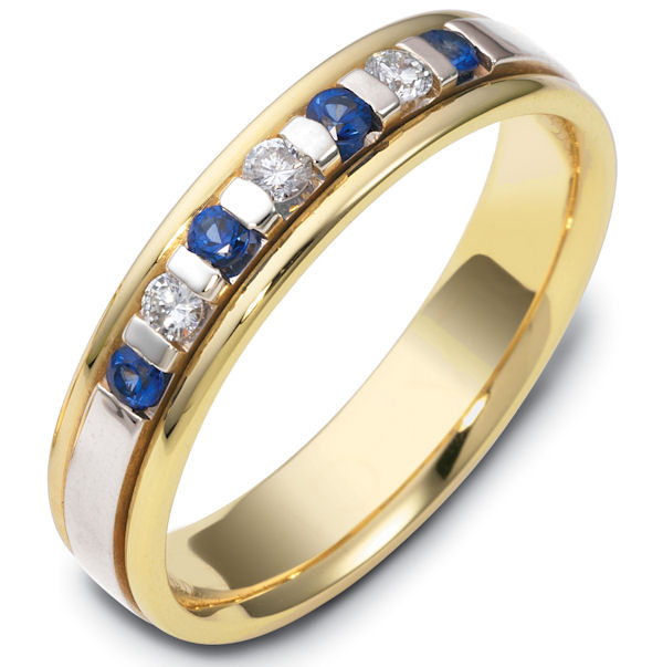 Item # S47243E - 18kt Two-tone gold sapphire, diamond, comfort fit, 4.5mm wide wedding band. The ring has approximately 0.12 ct tw diamonds, VS1-2 in clarity and G-H in color, and about 0.24 ct tw genuine sapphires. There are 3 round brilliant cut diamonds and 4 round genuine sapphires. It is 4.5mm wide and comfort fit. The center is brushed and the rest of the ring is polished. Other finishes may be selected or specified.