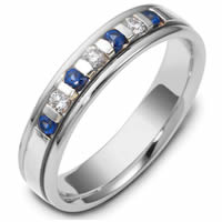 Item # S47243NWE - 18K Blue Sapphire and Diamond Wedding Ring