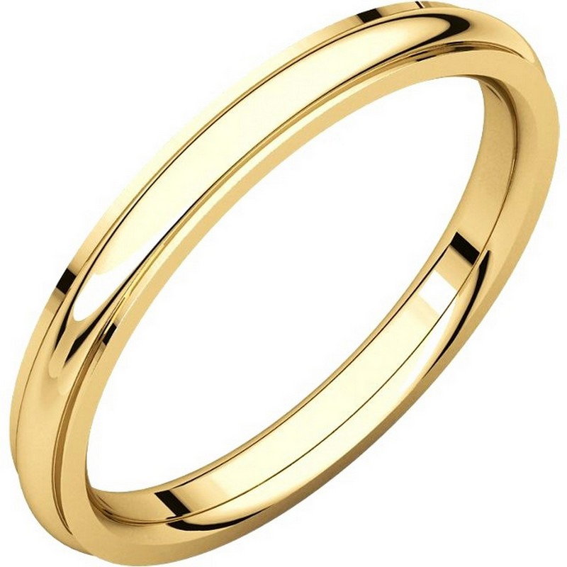 Item # S5780 - 14K yellow gold comfort fit 2.5 mm wide wedding band with defined edge. The finish on the wedding ring is polished. Other finishes may be selected or specified.