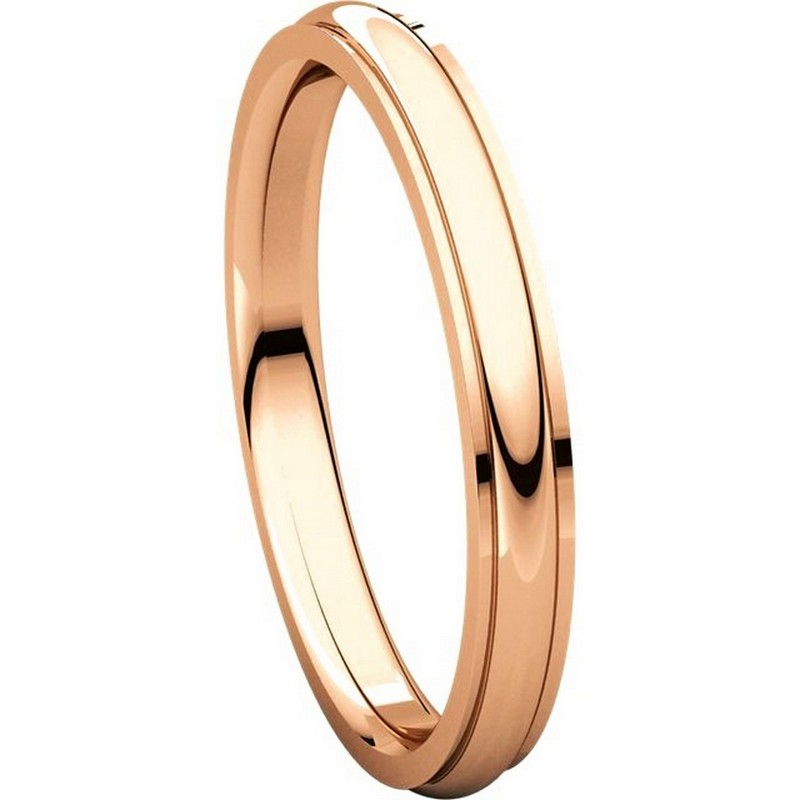 Item # S5780R View 5 - 14K Rose Gold 2.5mm Comfort Fit Edge Band