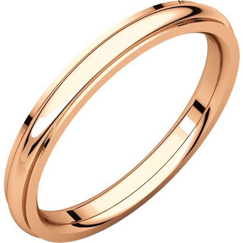 Item # S5780R - 14K Rose gold comfort fit 2.5 mm wide wedding band with defined edge. The finish on the wedding ring is polished. Other finishes may be selected or specified.
