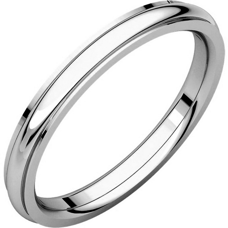 Item # S5780W - 14K white gold comfort fit 2.5 mm wide wedding band with defined edge. The finish on the wedding ring is polished. Other finishes may be selected or specified.