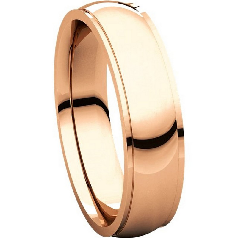 Item # S5810R View 5 - 14K Rose gold comfort fit 4.0 mm wide wedding band