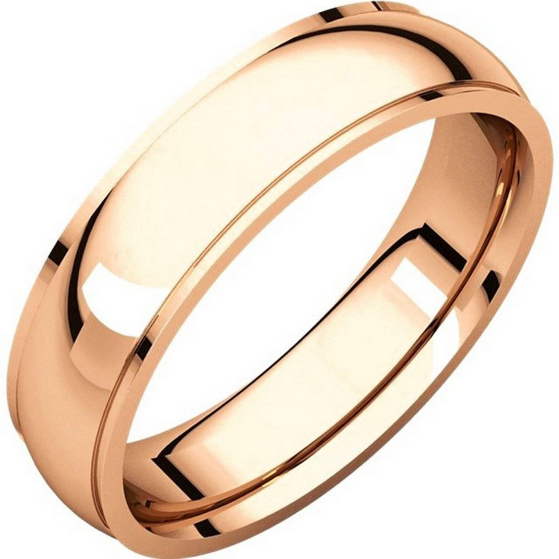 Item # S5810R - 14K Rose gold comfort fit 4.0 mm wide wedding band with defined edge. The finish on the wedding ring is polished. Other finishes may be selected or specified.