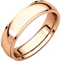 Item # S5810R - 14K Rose gold comfort fit 4.0 mm wide wedding band