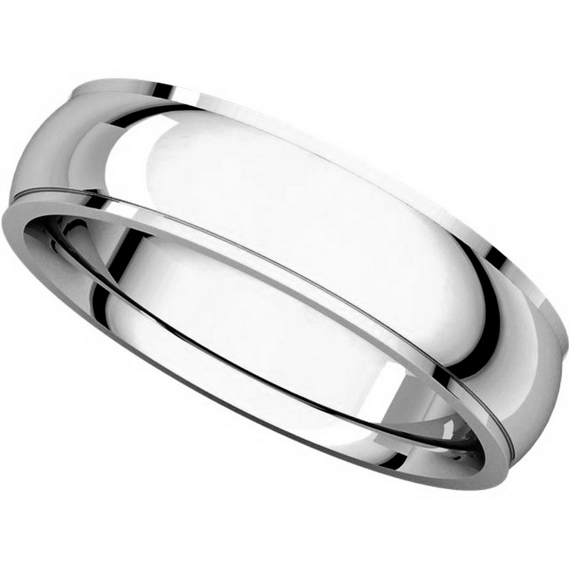 Item # S5810W View 4 - 14K white gold comfort fit 4.0 mm wide Wedding Band comfort Fit Edge
