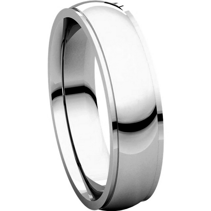 Item # S5810W View 5 - 14K white gold comfort fit 4.0 mm wide Wedding Band comfort Fit Edge