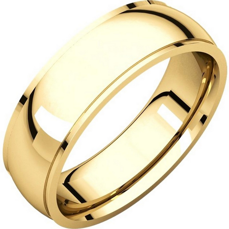 Item # S5870 - 14K yellow gold  comfort fit 6.0 mm wide wedding band with defined edge. The finish on the wedding ring is polished. Other finishes may be selected or specified.