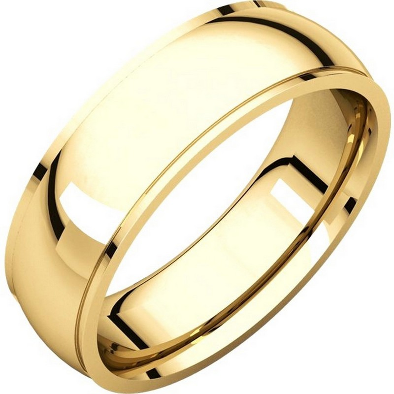Item # S5880E - 18K yellow gold  comfort fit 8.0 mm wide wedding band with defined edge. The finish on the wedding ring is polished. Other finishes may be selected or specified.