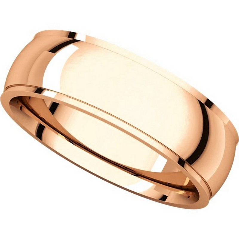 Item # S5880R View 4 - 14K Rose Gold 8mm Wide Wedding Comfort Fit Band.