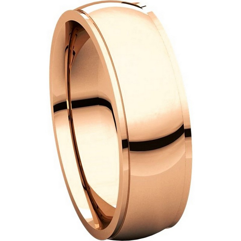 Item # S5880R View 5 - 14K Rose Gold 8mm Wide Wedding Comfort Fit Band.