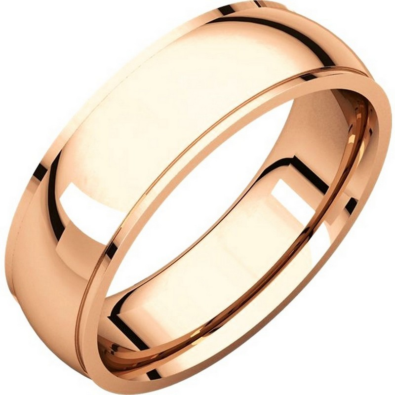 Item # S5880R - 14K Rose gold  comfort fit 8.0 mm wide wedding band with defined edge. The finish on the wedding ring is polished. Other finishes may be selected or specified.