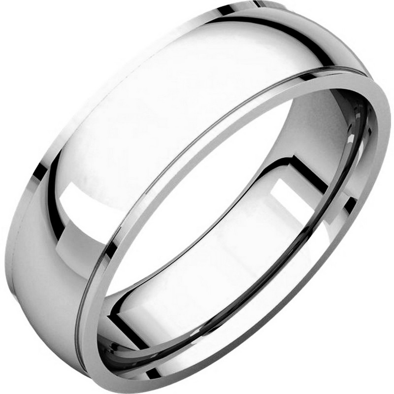 Item # S5880W - 14K white gold  comfort fit 8.0 mm wide wedding band with defined edge. The finish on the wedding ring is polished. Other finishes may be selected or specified.