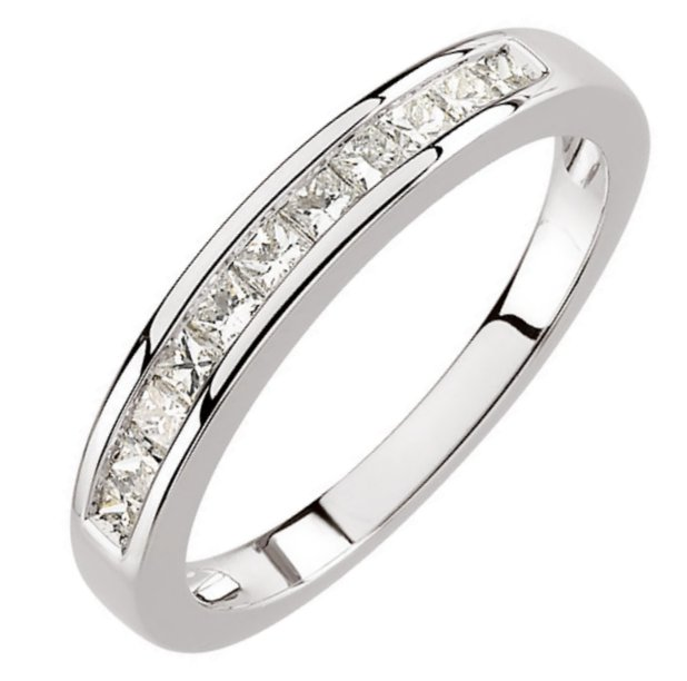 Item # S67857WE - 18K white gold, diamond anniversary ring. The ring has 11 princess cut diamonds with total weight of 0.50ct. The diamonds are graded as VS in clarity G-H in color.