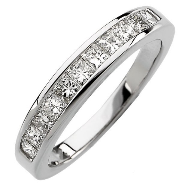 Item # S67858PP - Platinum,  diamond anniversary ring. The ring has 11 princess cut diamonds with total weight of 0.75ct. The diamonds are graded as VS in clarity G-H in color.