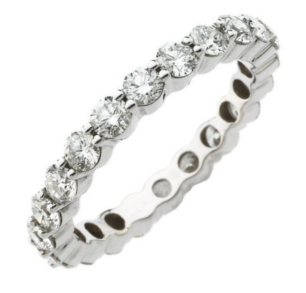Item # S71140WE - 18K white gold, diamond eternity ring, The ring has 20 round brilliant cut diamonds each measures about 3.0mm, with approximate total weight of 2.0ct in size 6.0. The diamonds are graded as VS in clarity, G-H in color.