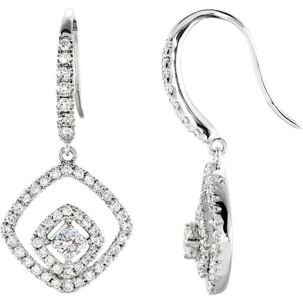 Item # S73917W - 14kt white gold, diamond, dangle earrings. The diamonds are about 0.75 ct tw, SI1-2 in clarity and G-H in color.