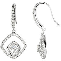 Item # S73917W - 14Kt White Gold Dangle Diamond Earrings