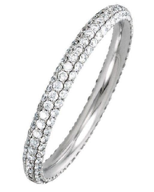 Item # S74046W - 14K white gold, diamond eternity ring. the ring holds approximately 153 diamond in size 6.0, with diamond total weight of 0.75ct. The diamonds are graded as SI in clarity, G-H in color.