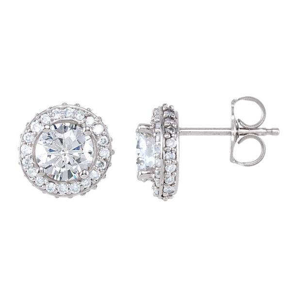Item # S742801W - 14kt white gold, diamond, halo earrings. The diamonds are about 1.0 ct tw, SI1-2 in clarity and G-H in color. Earrings have a friction back.