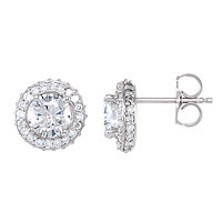Item # S742801W - 14Kt White Gold Diamond Halo Earrings