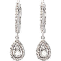 Item # S74339W - 14Kt White Gold Teardrop Halo Dangle Earrings