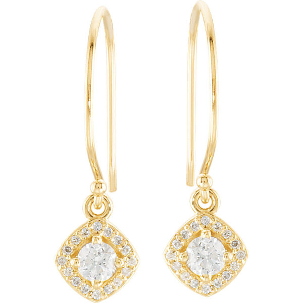 Item # S753873 - 14kt yellow gold, diamond, dangle halo earrings. The diamonds are about 0.375 ct tw, SI1-2 in clarity and G-H in color.