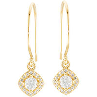 Item # S753873 - 14Kt Yellow Gold Dangle Halo Earrings