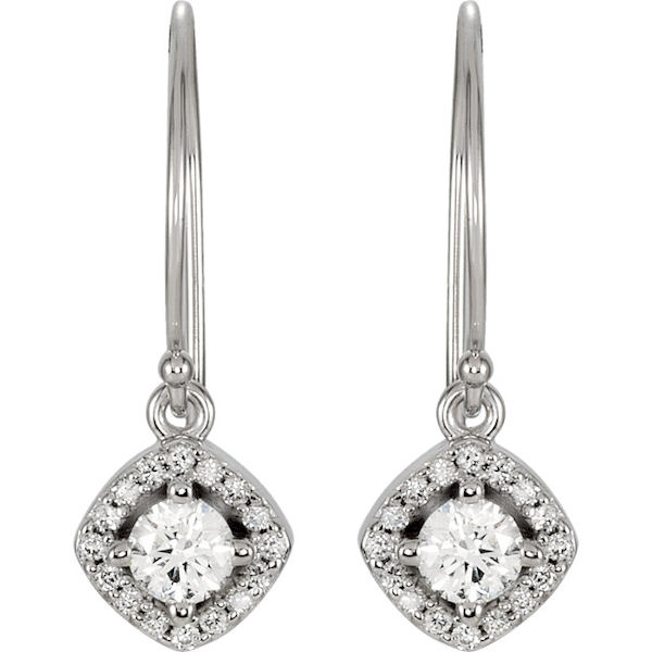Item # S753873W - 14kt white gold, diamond, dangle halo earrings. The diamonds are about 0.375 ct tw, SI1-2 in clarity and G-H in color.