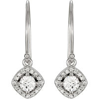 Item # S753873W - 14Kt White Gold Diamond Dangle Halo Earrings