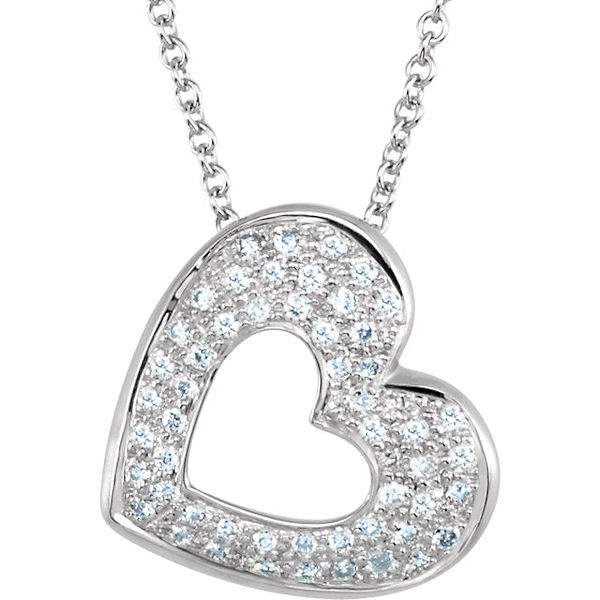 Item # S75631W - 14kt white gold, 0.25 ct tw, SI1-2 in clarity and G-H in color, diamond heart pendant. The pendant hangs on an 18