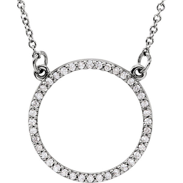 Item # S89833W - 14kt white gold, 0.20 ct tw diamond, SI1-2 in clarity and G-H in color, circle necklace. The pendant hangs on a 16