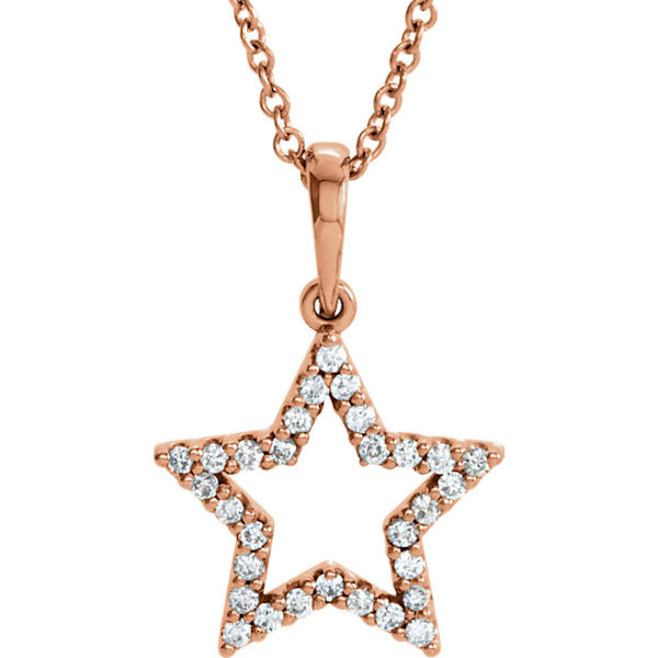 Item # S90097R - 14kt rose gold, 0.166 ct tw diamond, SI1-2 in clarity and G-H in color, star diamond pendant. The pendant hangs on a 16