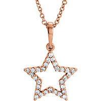 Item # S90097R - 14K Rose Gold Star Diamond Pendant