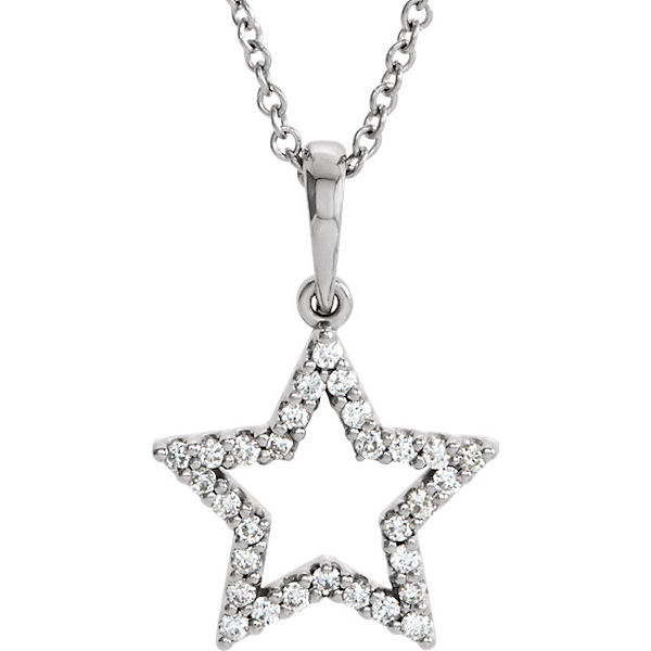 Item # S90097W - 14kt white gold, 0.166 ct tw diamond, SI1-2 in clarity and G-H in color, star diamond pendant. The pendant hangs on a 16