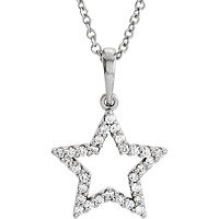 Item # S90097W - 14K White Gold Star Diamond Pendant