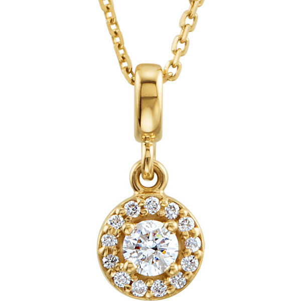 Item # S90981 - 14kt yellow gold, 0.20 ct tw diamond, SI1-2 in clarity and G-H in color, halo necklace. The pendant hangs on an 18