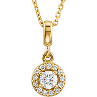 Item # S90981 - 14K Yellow Gold Halo Necklace